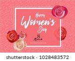 happy woman's day handwriting... | Shutterstock .eps vector #1028483572