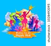 illustration of happy holi... | Shutterstock .eps vector #1028492095