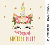 birthday party invitation with...   Shutterstock . vector #1028495038