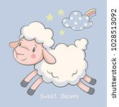 cute dreaming lamb cartoon hand ... | Shutterstock .eps vector #1028513092
