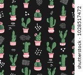seamless cacti pattern.... | Shutterstock .eps vector #1028517472