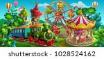 vector illustration. amusement... | Shutterstock .eps vector #1028524162
