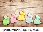 easter composition with  easter ... | Shutterstock . vector #1028525002