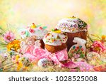 various spring easter cakes... | Shutterstock . vector #1028525008