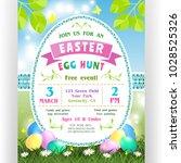 easter egg hunt announcing...   Shutterstock .eps vector #1028525326