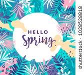 hello spring banner. vector... | Shutterstock .eps vector #1028528818