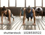 group of young yogi people... | Shutterstock . vector #1028530522