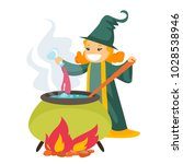 young caucasian white witch... | Shutterstock .eps vector #1028538946