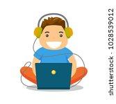 young caucasian white fat boy...   Shutterstock .eps vector #1028539012