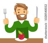 caucasian white man sitting at... | Shutterstock .eps vector #1028540032