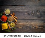set of spices and herbs on dark ... | Shutterstock . vector #1028546128