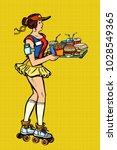retro fast food waitress on... | Shutterstock .eps vector #1028549365