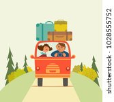 travelling by car icon. young... | Shutterstock .eps vector #1028555752