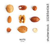 seamless pattern with nuts.... | Shutterstock . vector #1028564365
