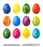 colorful watercolor easter eggs ... | Shutterstock . vector #1028581672