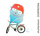 riding bicycle monster wearing... | Shutterstock .eps vector #1028582566