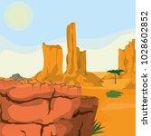 desert landscape cartoon | Shutterstock .eps vector #1028602852