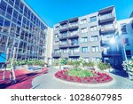 complex of new apartment... | Shutterstock . vector #1028607985