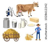 dairy farm set. milk products... | Shutterstock .eps vector #1028612242