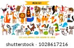 Stock vector mega set of cute cartoon animals wild animals marina animals vector illustration isolated on 1028617216