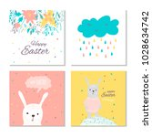 collection of 4 easter card ... | Shutterstock .eps vector #1028634742