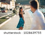 young attractive woman flirting ... | Shutterstock . vector #1028639755