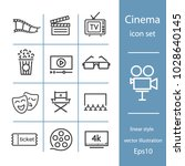 cinema set of line icons ... | Shutterstock .eps vector #1028640145