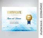 certificate design  template... | Shutterstock .eps vector #1028645602