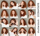 set of young girl emotions.... | Shutterstock . vector #1028645698