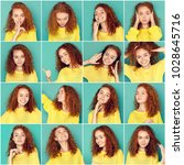 Small photo of Set of young girl emotions. Casual redhead woman grimacing and gesturing on camera at blue studio background. Happiness, fear, surprise. Positive and negative feelings