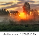 spring morning. a misty dawn in ... | Shutterstock . vector #1028652145