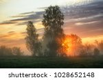 spring morning. a misty dawn in ... | Shutterstock . vector #1028652148