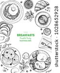 breakfasts top view frame.... | Shutterstock .eps vector #1028652928