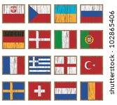 european flags on wooden... | Shutterstock .eps vector #102865406