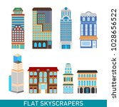 modern skyscrapers set in flat... | Shutterstock .eps vector #1028656522