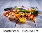 organic leftovers  kitchem... | Shutterstock . vector #1028656675
