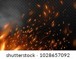 flame with fiery sparks | Shutterstock .eps vector #1028657092