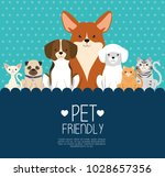dogs and cats pets friendly | Shutterstock .eps vector #1028657356