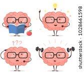 brain cartoon set with glasses  ... | Shutterstock .eps vector #1028661598