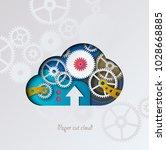 paper cut cloud. colorful cloud ... | Shutterstock .eps vector #1028668885