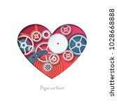 paper cut heart. colorful heart ... | Shutterstock .eps vector #1028668888