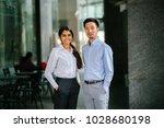 portrait of two coworkers  team ...   Shutterstock . vector #1028680198