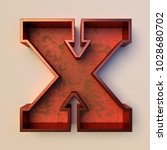 Vintage painted wood letter x...