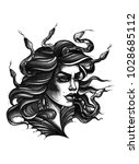 watercolor tattoo portrait of... | Shutterstock . vector #1028685112