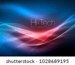 neon smoke waves  vector...   Shutterstock .eps vector #1028689195