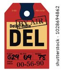 delhi airport luggage tag.... | Shutterstock .eps vector #1028694862