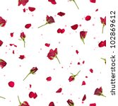 Stock photo repeatable flying studio photographed red roses with petals on a back light and bokeh particles 102869612