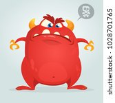 angry cartoon monster showing... | Shutterstock .eps vector #1028701765