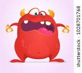 scared cartoon horned monster.... | Shutterstock .eps vector #1028701768
