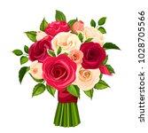 vector bouquet of red  orange...   Shutterstock .eps vector #1028705566
